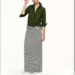 J. Crew Black & White Striped Maxi Skirt sz S